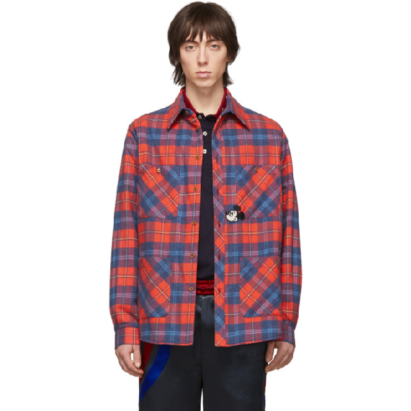 Gucci Mickey Mouse-appliquÉ Checked-cotton Overshirt In 6431 Redblu