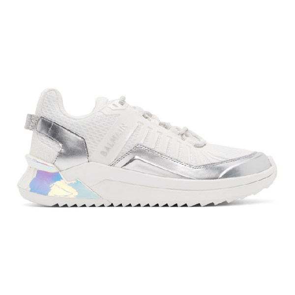 Balmain B-trail Sneakers In Leather And White Fabric In 0fa Blanc