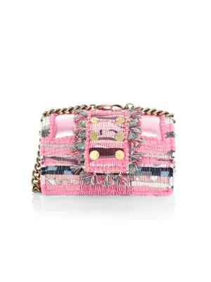Kooreloo Women's Tweed Shoulder Bag In Metallic Pink