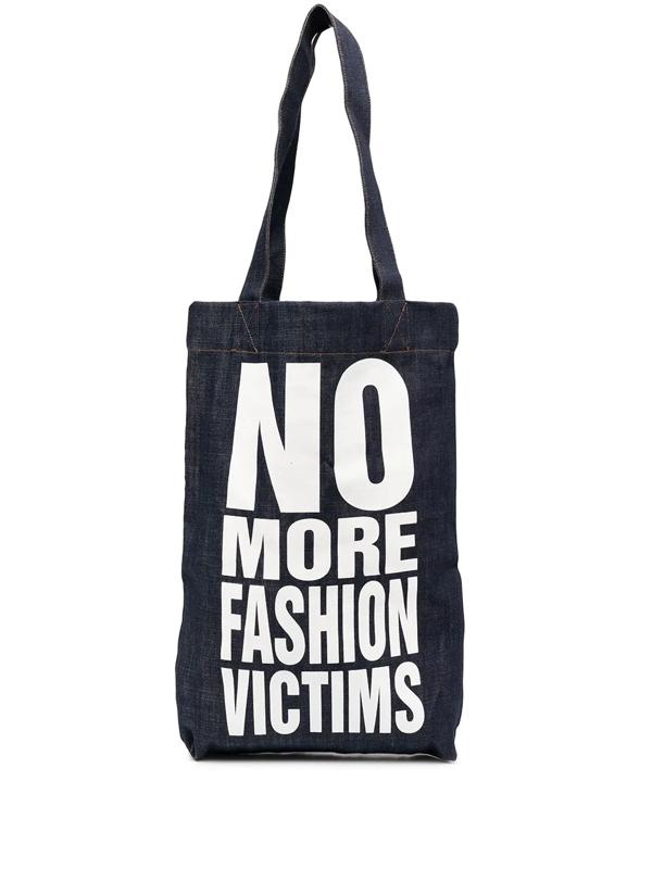 Katharine Hamnett No More Fashion Victims Tote Bag In Blue