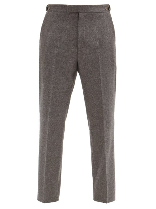 Gucci Mushroom-embroidered Wool Trousers In Grey