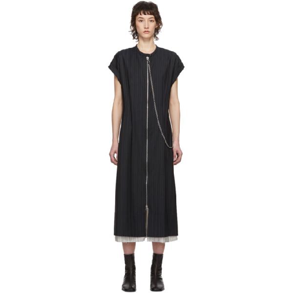 Acne Studios Zip-front Striped Dress Navy Blue