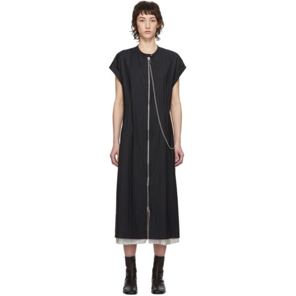 Acne Studios Di Pinstriped Wool Dress In Navy Blue