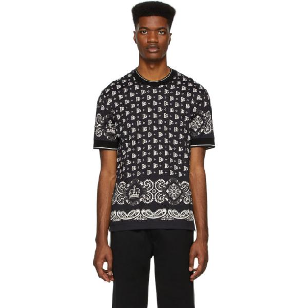 Dolce & Gabbana Dolce And Gabbana Black And White Bandana T-shirt In Hn74cbandan