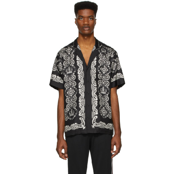 Dolce & Gabbana Bandana-print Cuban-collar Silk-faille Shirt In Black