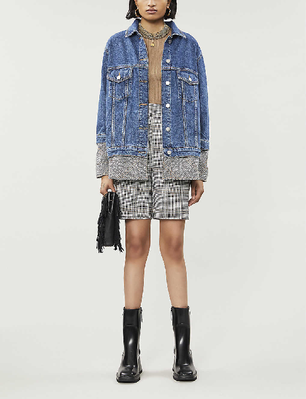 Maje Checked-underlay Denim Jacket In Blue