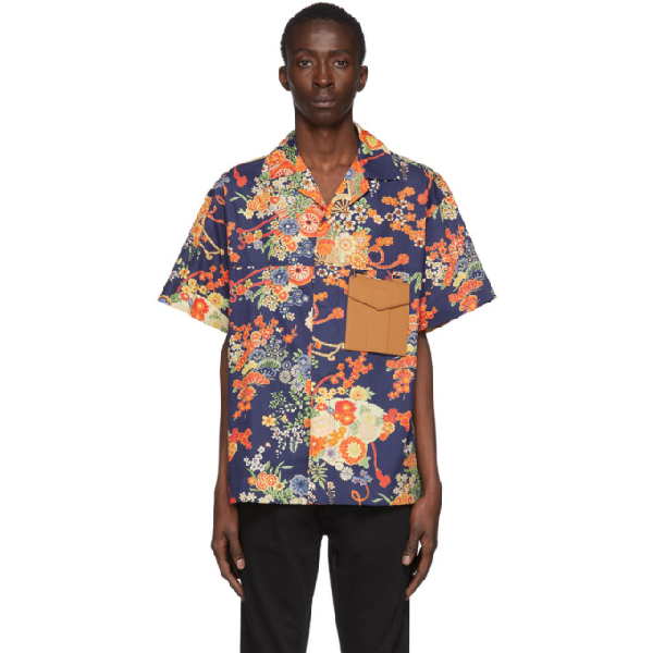 Palm Angels Blooming Short Sleeve Button-up Shirt In Blue/multicolor