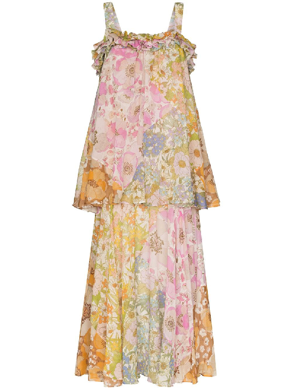 Zimmermann Super Eight Floral-print Cotton And Silk-blend Maxi Dress In Green