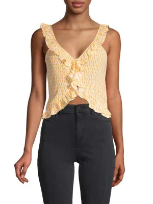 Paloma Blue Women's Ali Printed Ruffle Silk-blend Crop Top In Gold Cable