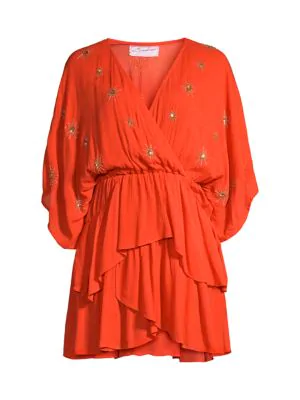 Sundress Women's Vera Miscellane Sun Embroidered Ruffle Dress In Tangerine Sun
