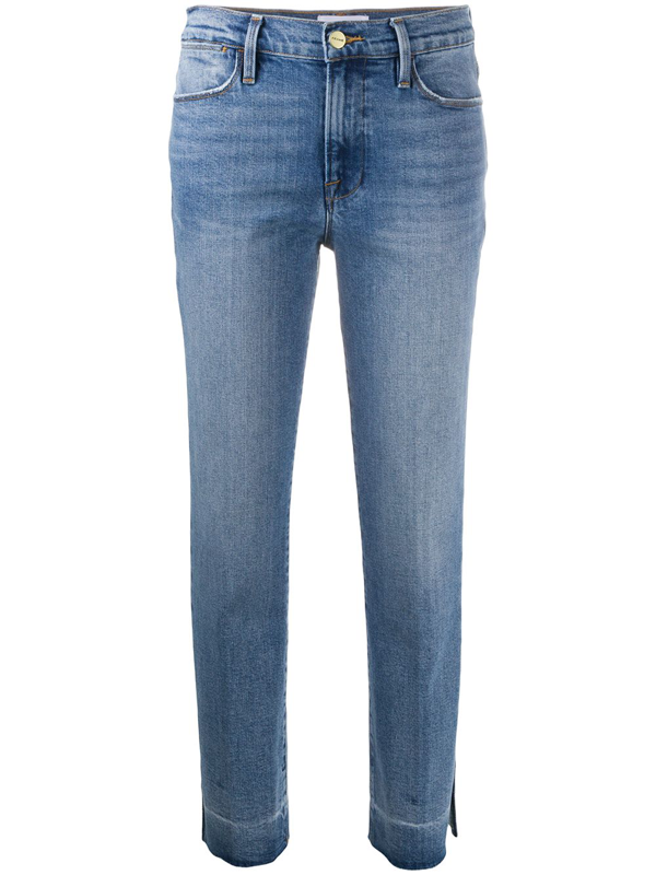 Frame Le Original Cropped Distressed Mid-rise Slim-leg Jeans In Blue