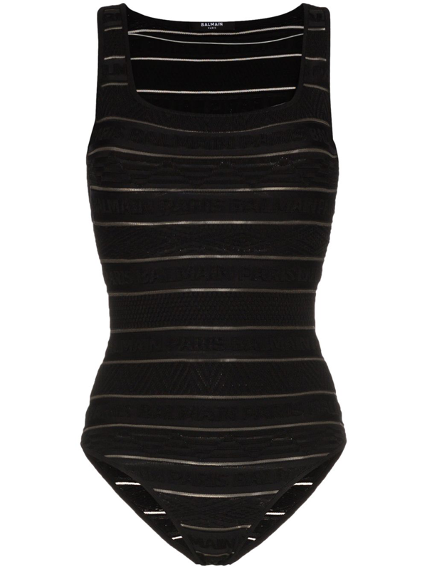 Balmain Bodycon Logo Stripe Bodysuit In Black