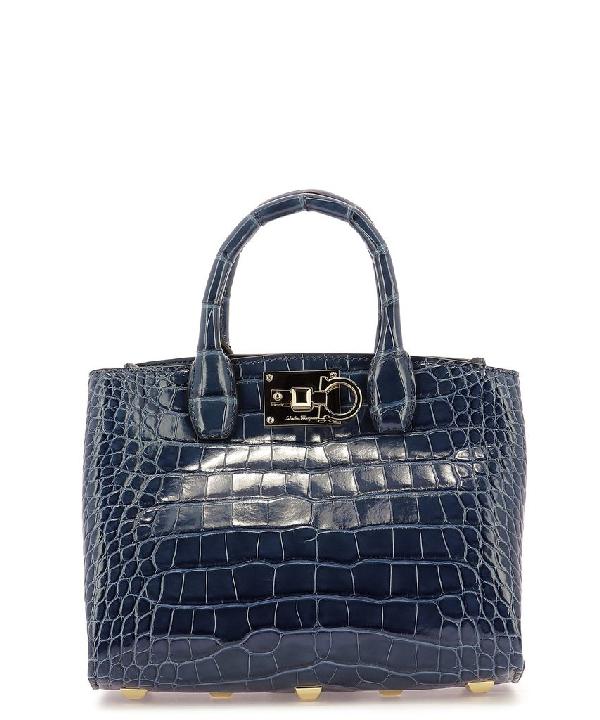 Salvatore Ferragamo The Studio Tote Bag In Blue
