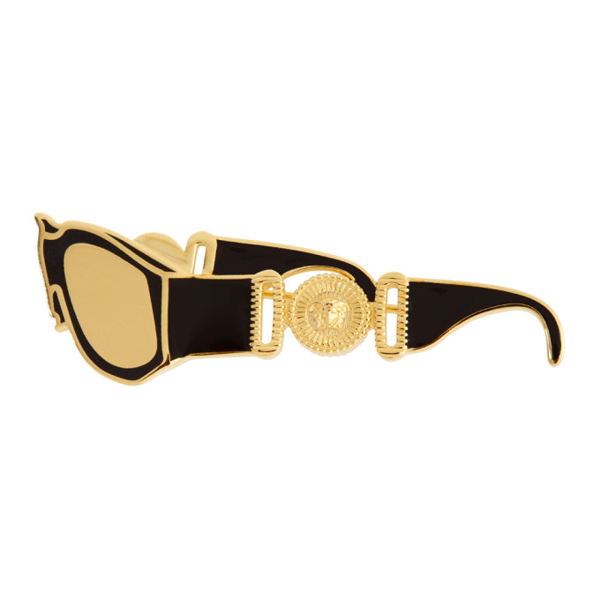 Versace Black And Gold Sunglasses Brooch In D41oh Blkgl