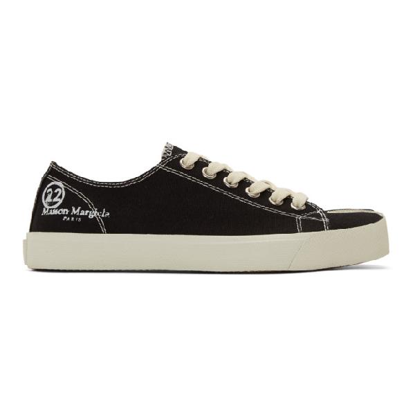 Maison Margiela Tabi Split-toe Cotton-canvas Sneakers In Black