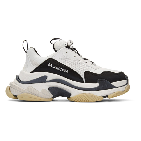 Balenciaga Triple S Mesh, Nubuck And Leather Sneakers In Black