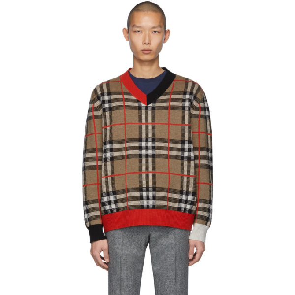 Burberry Check Merino Wool Jacquard V-neck Sweater In Archive Bei