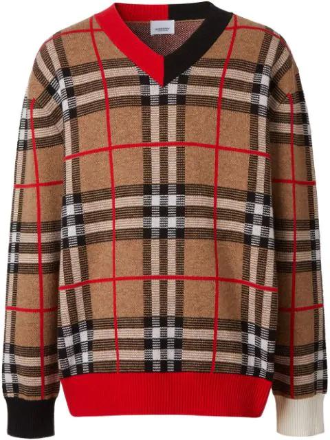 Burberry Duggan Check-jacquard Merino-wool Sweater In Archive Bei