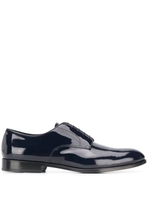 Doucal's Brushed Blue Leather Oxford Shoes