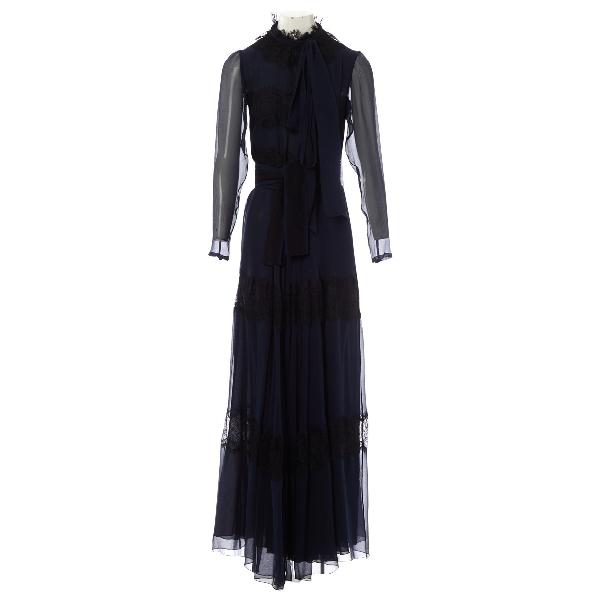 Luisa Beccaria Navy Silk Dress