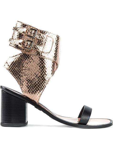 Markus Lupfer Faux Snakeskin Sandals In Copper