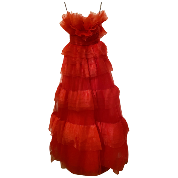 Pre-owned Monique Lhuillier Red Silk Dress