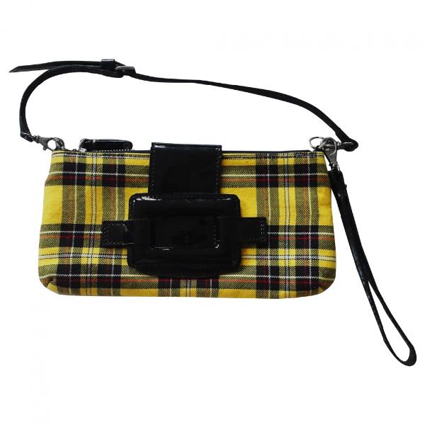 Robert Clergerie Yellow Tweed Clutch Bag
