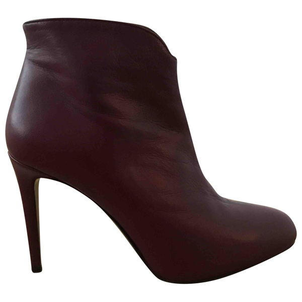 Fiorifrancesi Burgundy Leather Ankle Boots