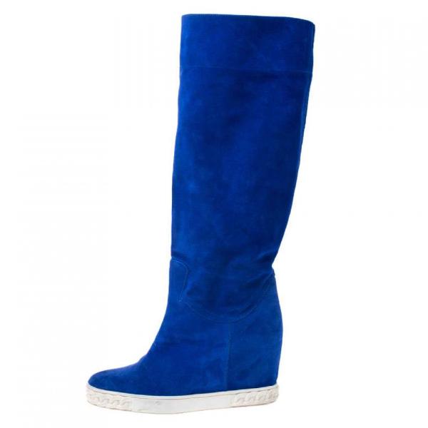 Casadei Blue Suede Boots
