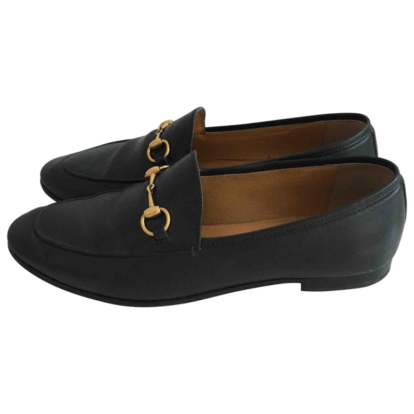 Pre-owned Gucci Jordaan Black Leather Flats