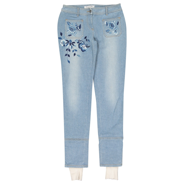 Pre-owned Dior Blue Cotton Jeans