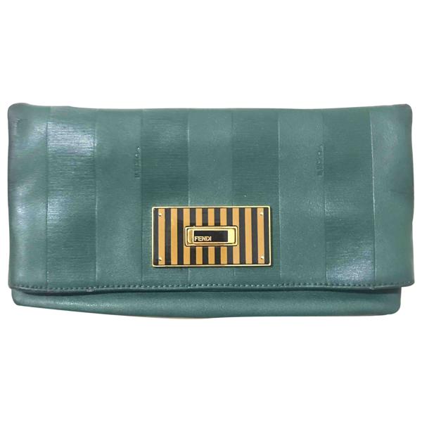 Pre-owned Fendi Green Leather Clutch Bag