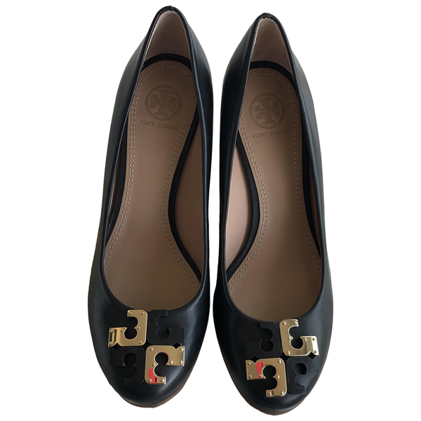 Pre-owned Tory Burch Black Leather Heels