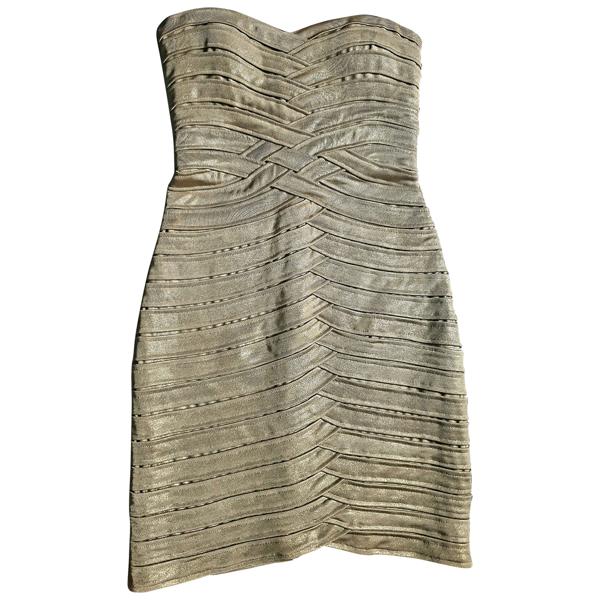 Pre-owned Bcbg Max Azria Gold Dress