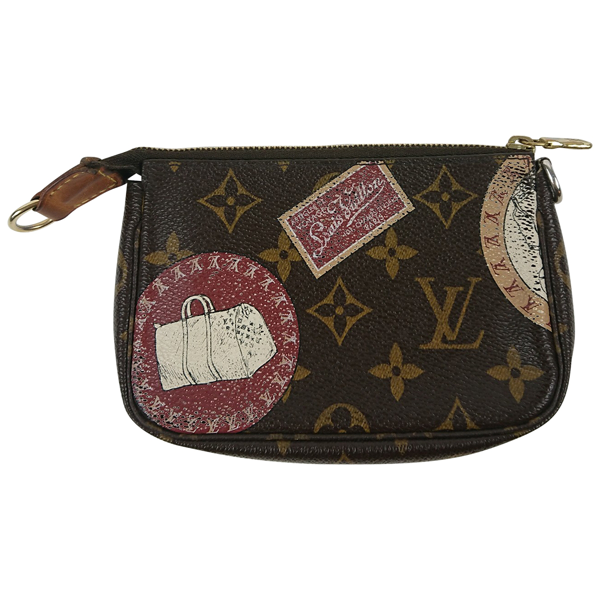 Pre-owned Louis Vuitton Pochette Accessoire Brown Cloth Clutch Bag