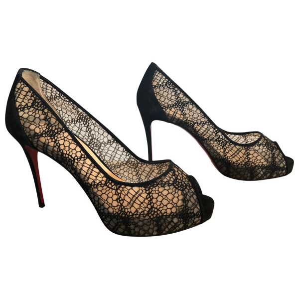 Pre-owned Christian Louboutin Black Suede Heels