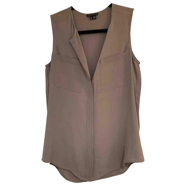 Pre-owned Theory Beige Silk  Top