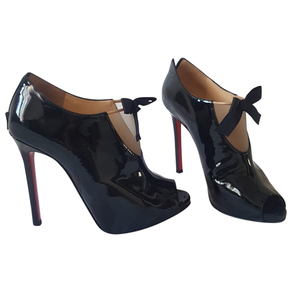 Pre-owned Christian Louboutin Black Patent Leather Ankle Boots