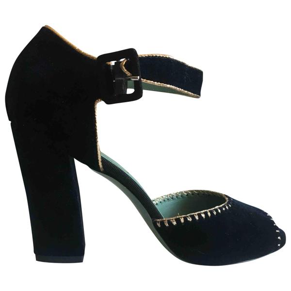 Pre-owned Paola D'arcano Blue Velvet Sandals