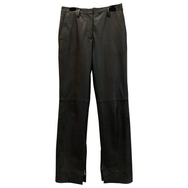 Pre-owned Golden Goose Black Leather Trousers