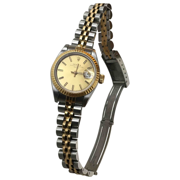 Pre-owned Rolex Lady Oyster Perpetual 26mm Gold Gold And Steel Watch
