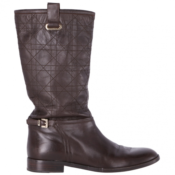 Pre-owned Dior Brown Leather Boots