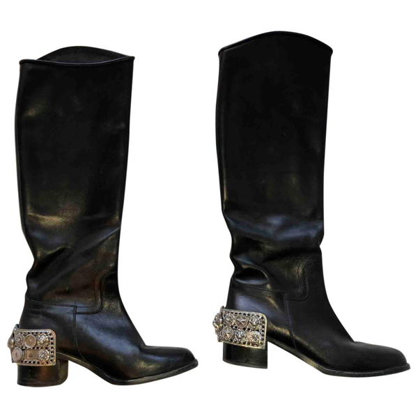 Pre-owned Chanel Black Leather Boots