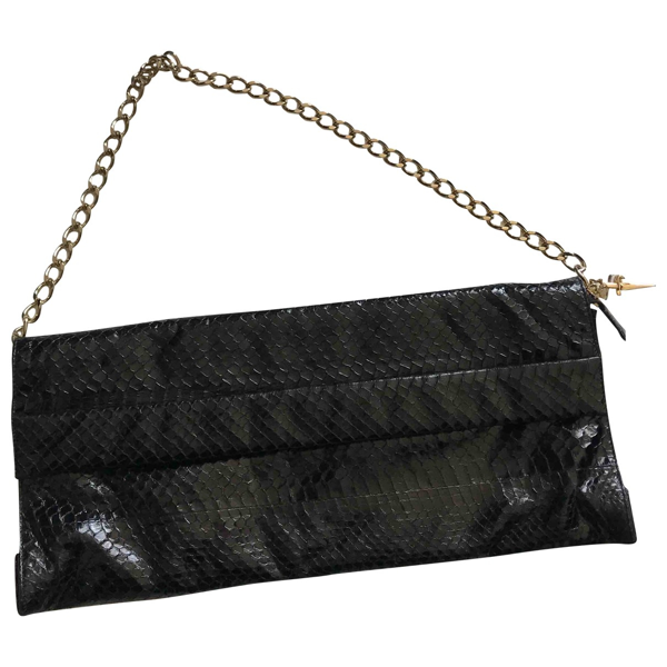 Pre-owned Cesare Paciotti Black Python Clutch Bag