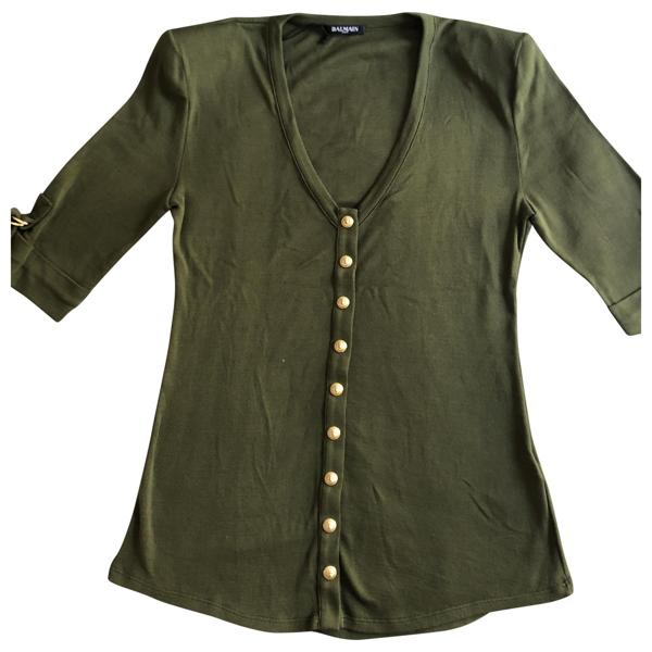 Pre-owned Balmain Khaki Cotton  Top