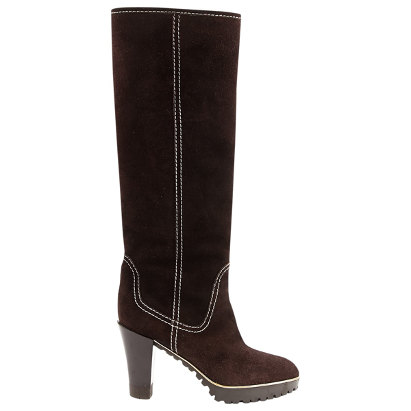 Pre-owned Sergio Rossi Brown Suede Boots