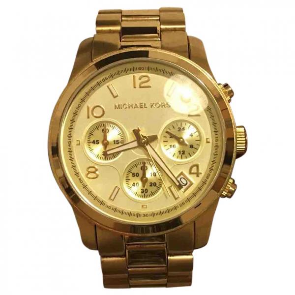Pre-owned Michael Kors Gold Steel Watch