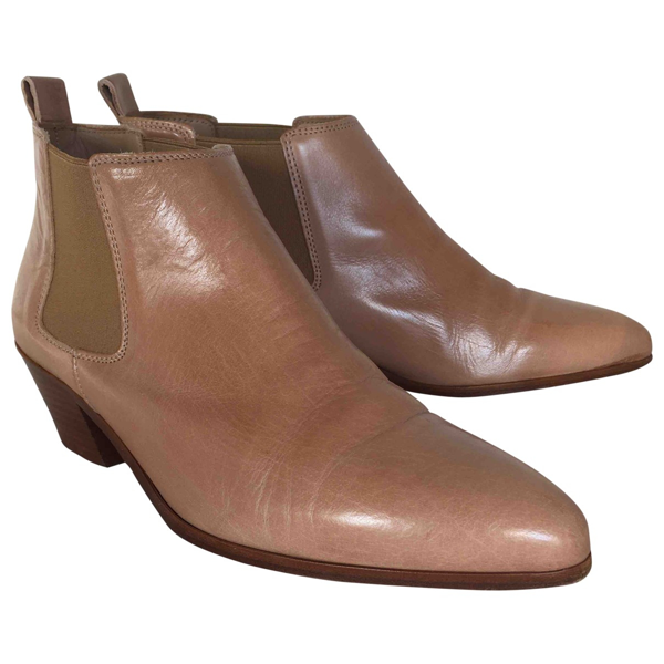 Pre-owned Closed Beige Leather Ankle Boots