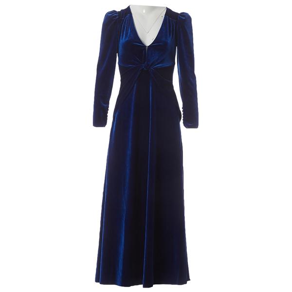 Pre-owned Self-portrait Blue Velvet Dress
