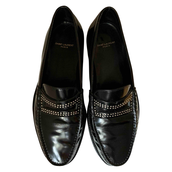 Pre-owned Saint Laurent Black Leather Flats